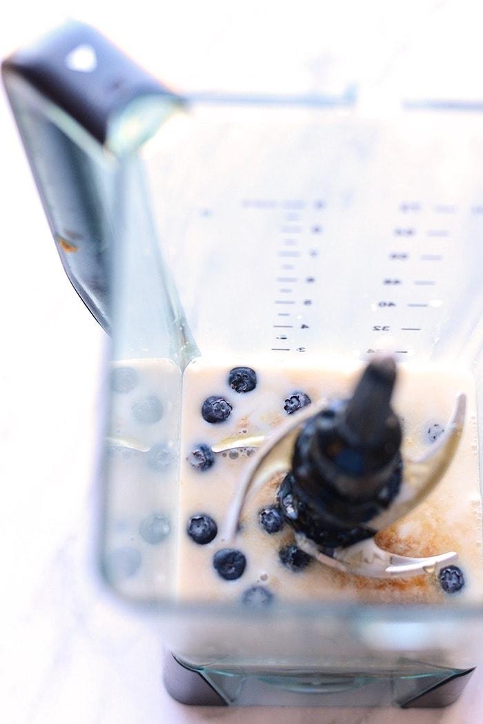 lemon blueberry pancakes ingredients in a blender