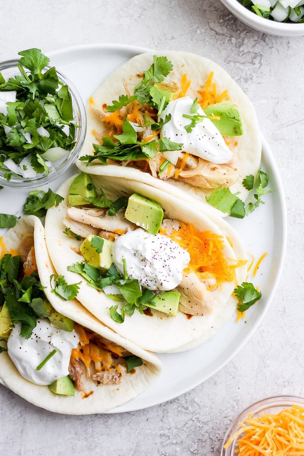 shredded chicken tacos ready to be served