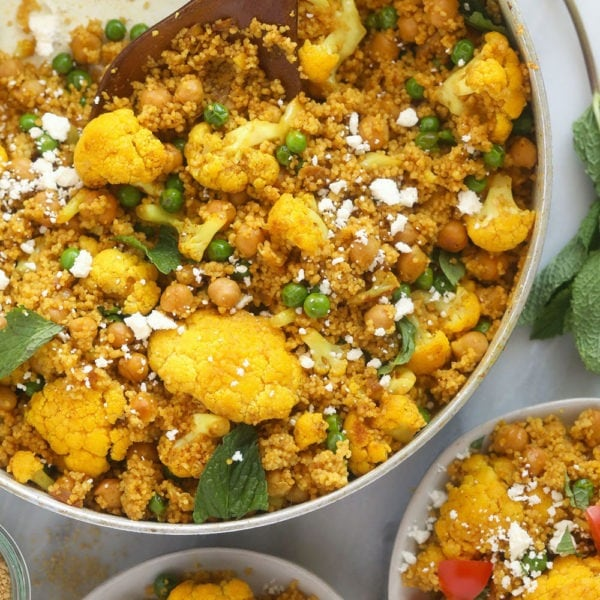 moroccan chickpea couscous in a skillet