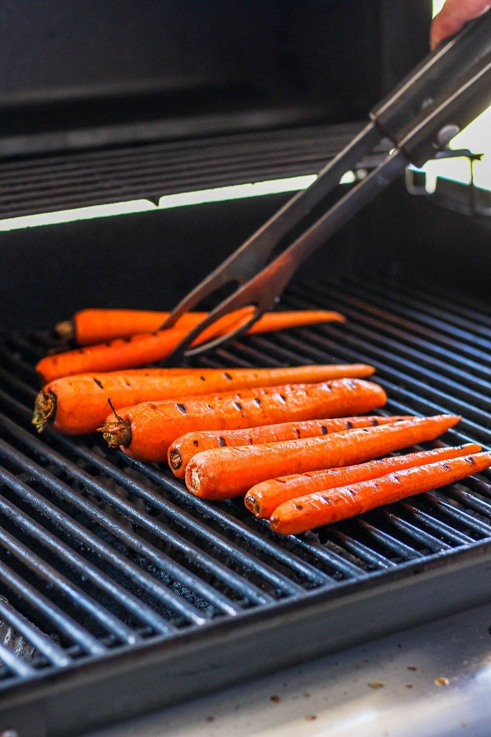 Carrots roasting on the grill.