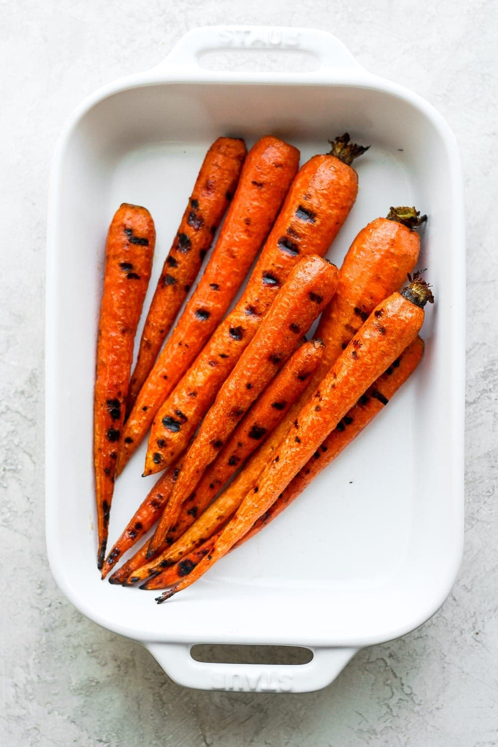 Grilled Carrots in a casserole dish