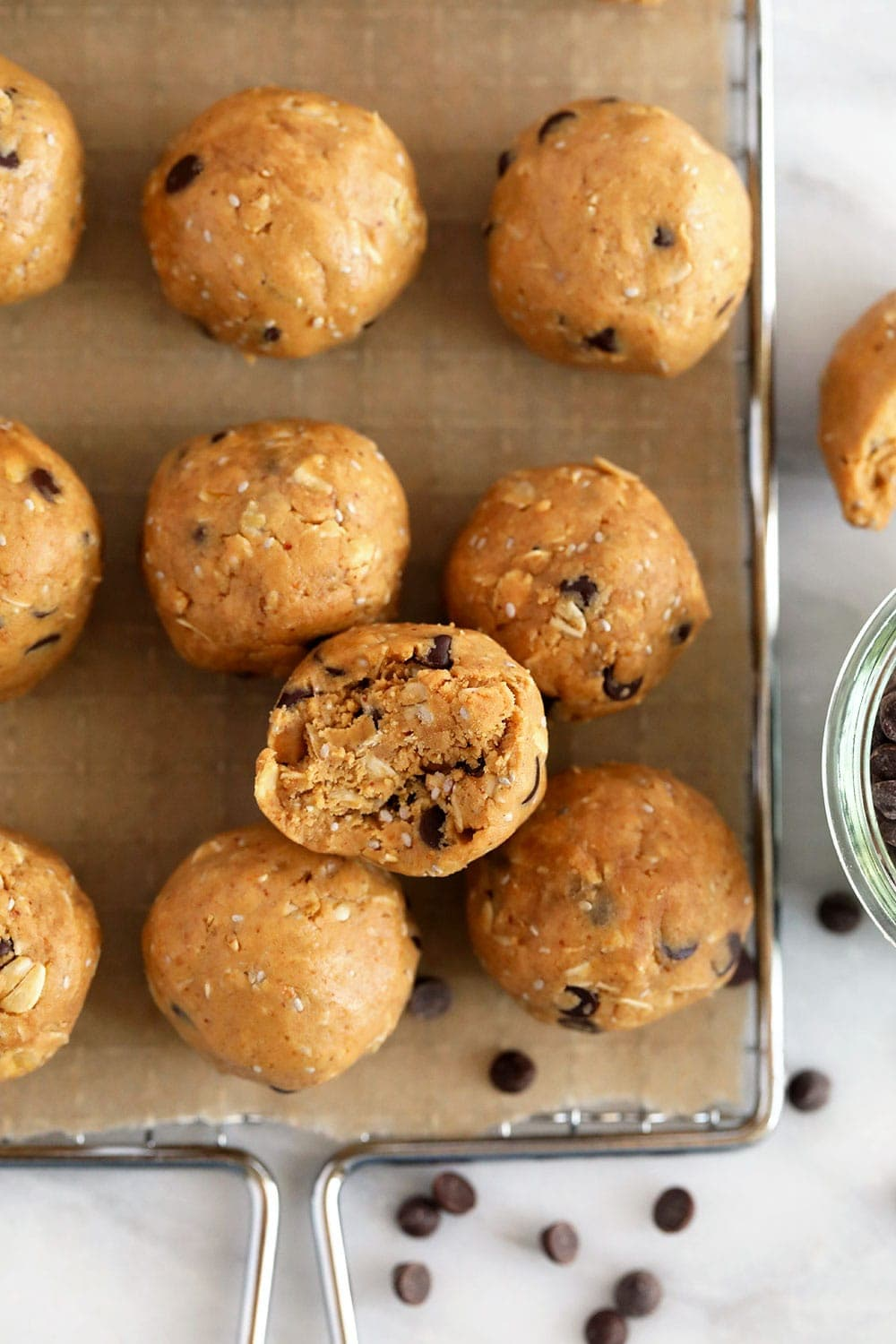 Peanut Butter Protein Balls in a tray