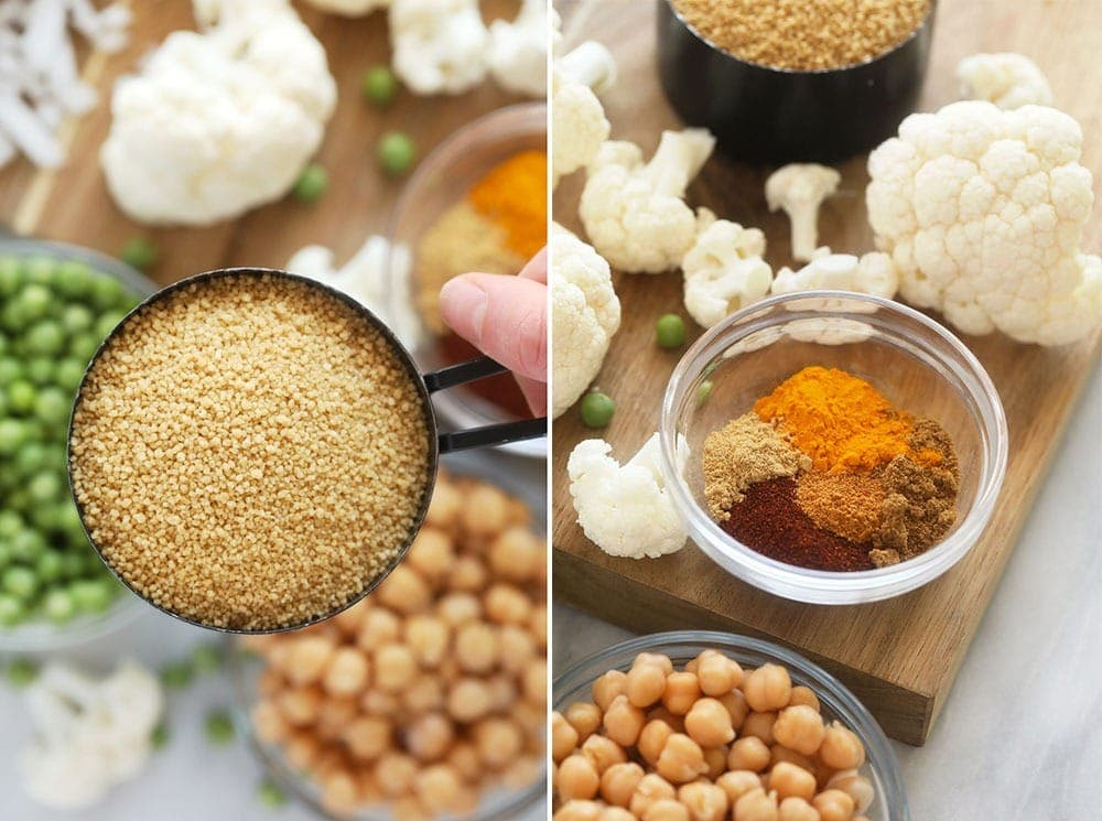 moroccan chickpea couscous ingredients ready to be mixed