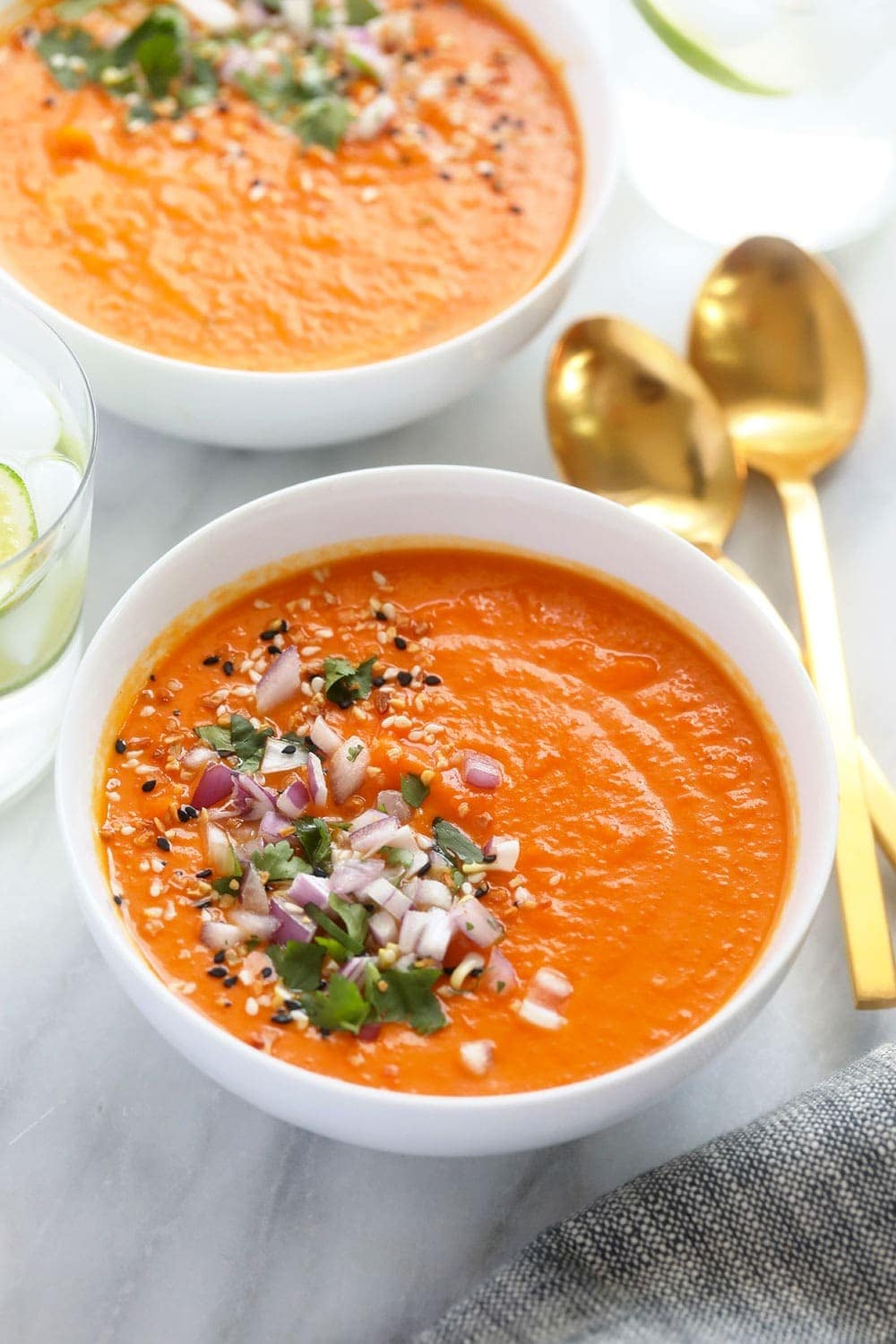 instant pot sweet potato carrot ginger soup in a bowl ready to be enjoyed
