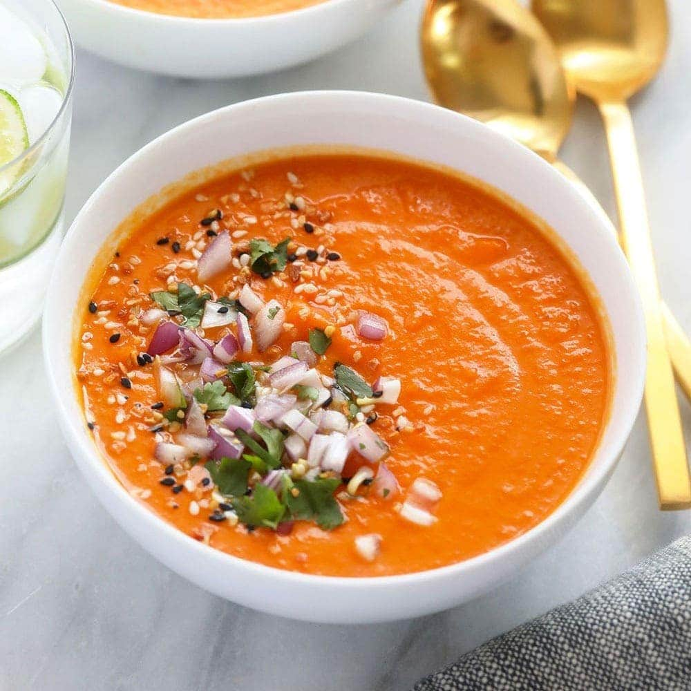 instant pot sweet potato carrot ginger soup in a bowl