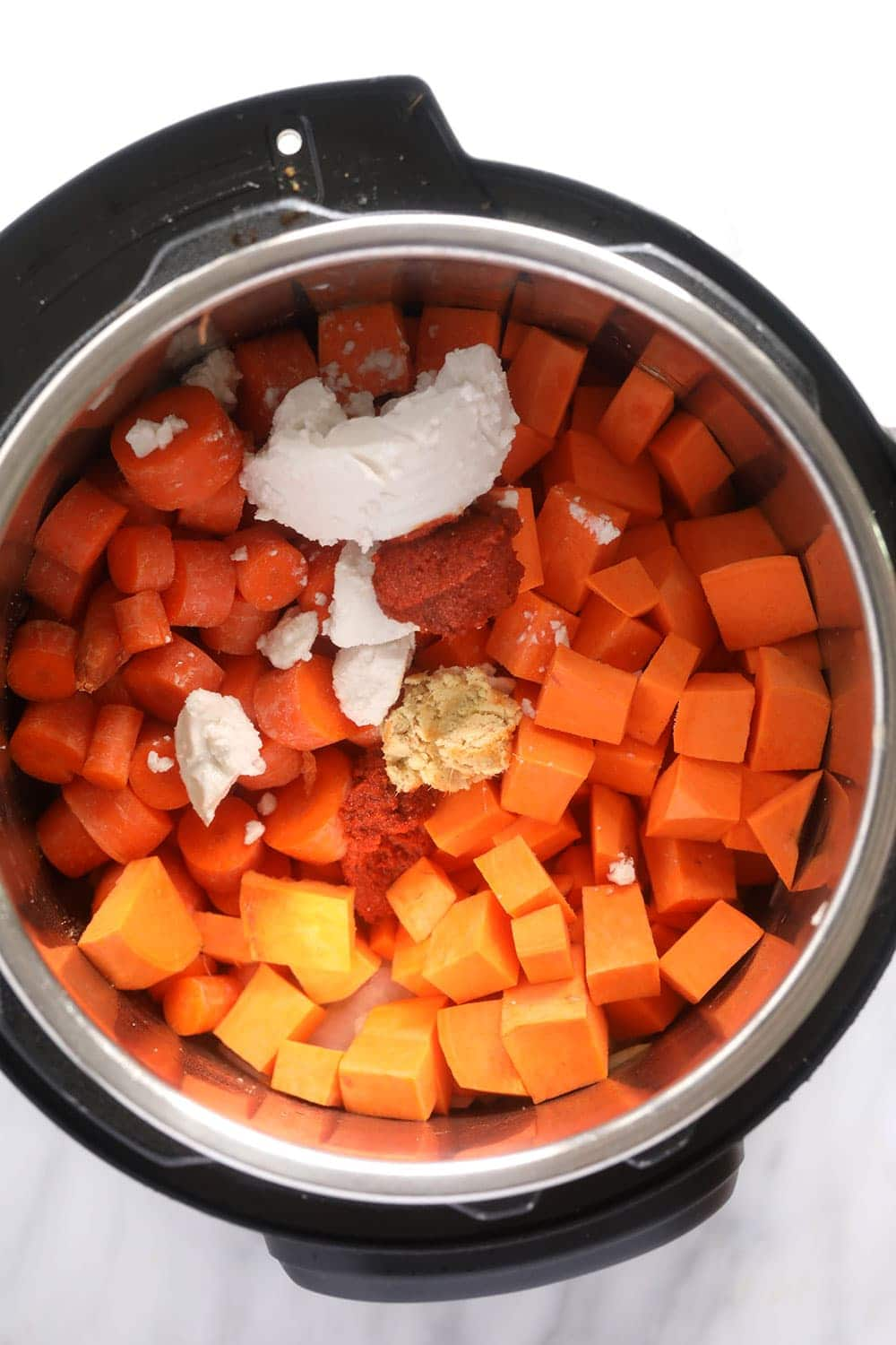 instant pot sweet potato carrot ginger soup ingredients in the instant pot