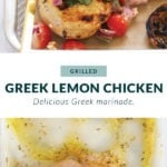 The process of marinating Greek chicken.