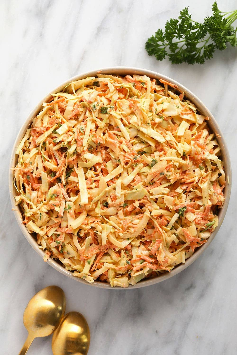 creamy coleslaw in a bowl ready to be served
