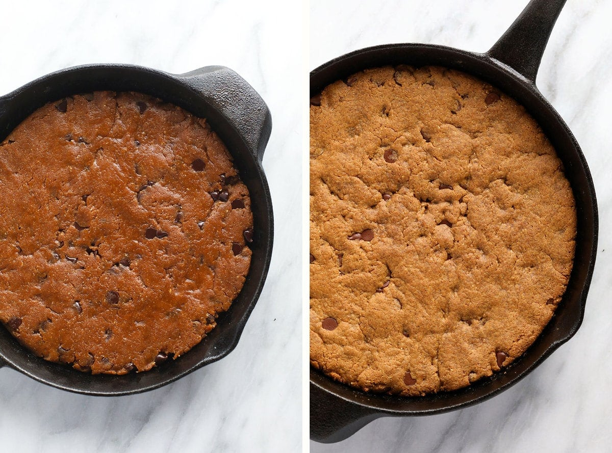 before and after baking skillet cookie in cast iron pan