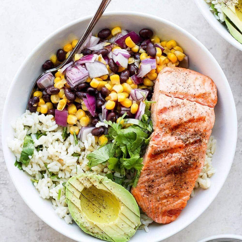 fiesta salmon rice bowls