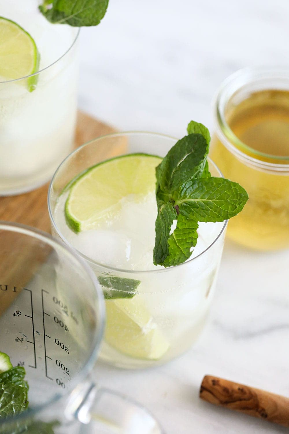 Mint and lime hard seltzer in a glass