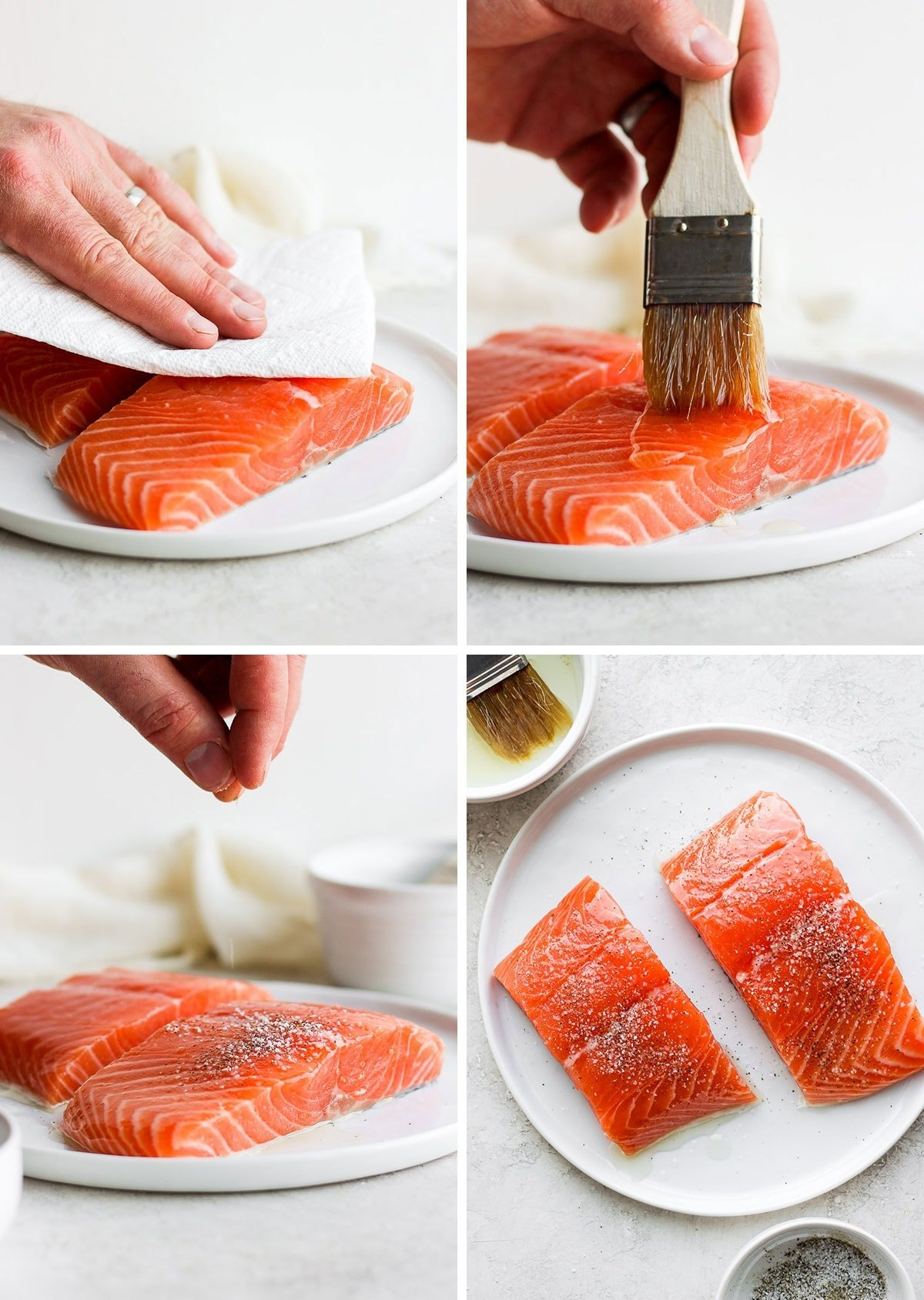 Raw salmon on a plate being seasoned with salt and pepper and brushed with olive oil
