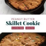 skillet cookie with whipped cream and sprinkles