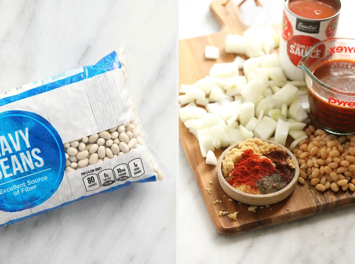 All of the ingredients to make Instant Pot baked beans.