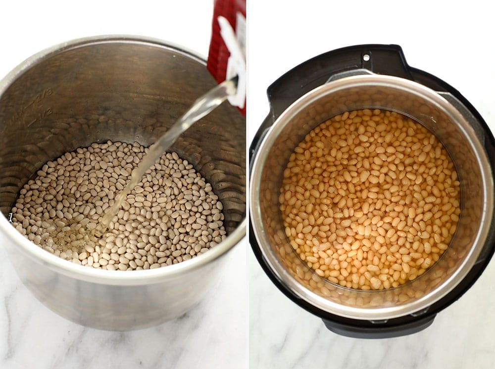 Before and after photos of dried white beans and then cooked white beans.