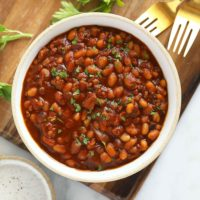 cooked baked beans in a bowl!