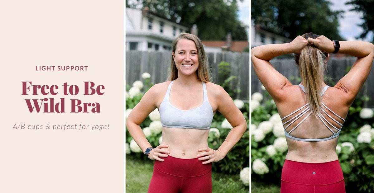 free to be wild sports bra from lululemon that's great for yoga