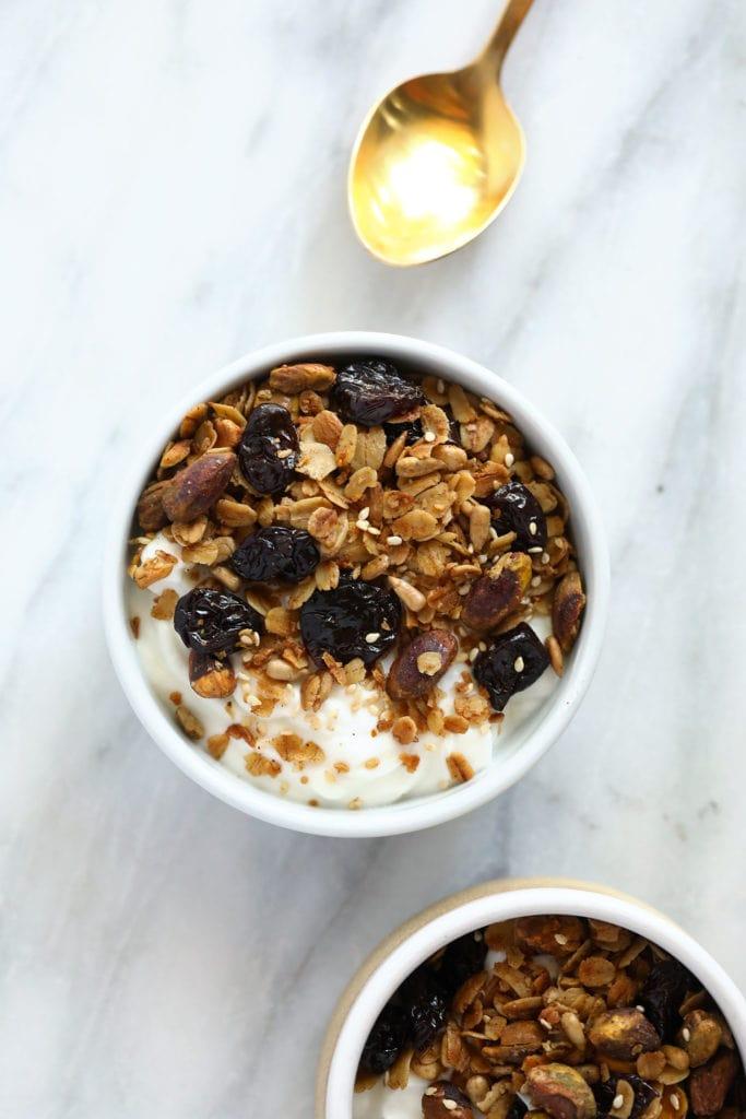 Granola on top of yogurt.