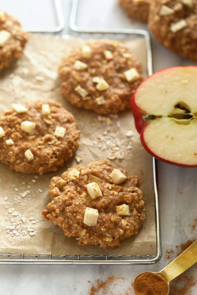 Apple oatmeal cookies on a cooling rack.