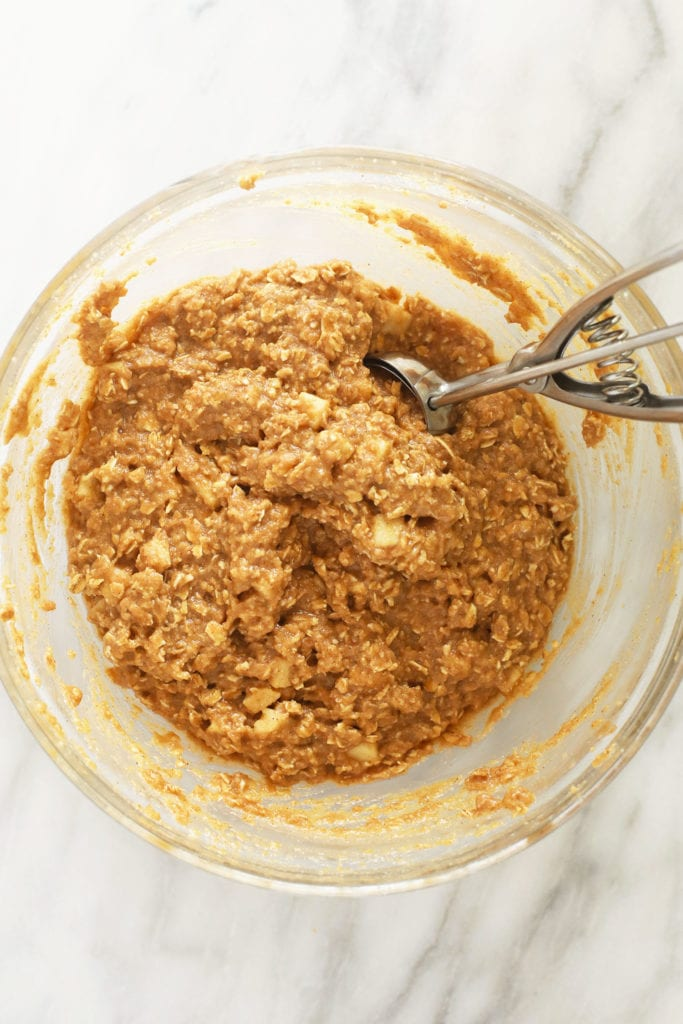 Apple oatmeal cookies batter in bowl.