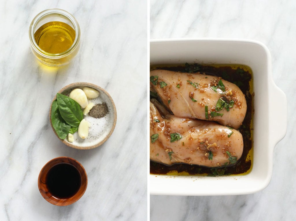 Balsamic chicken marinade ingredients and chicken breasts in dish