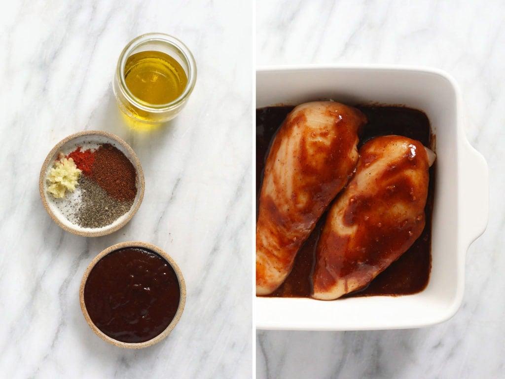 bbq chicken marinade ingredients and chicken breasts in dish