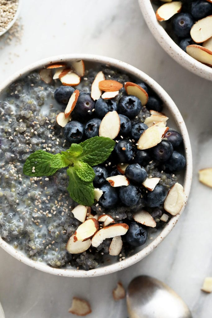 Blueberry breakfast quinoa in a bowl.