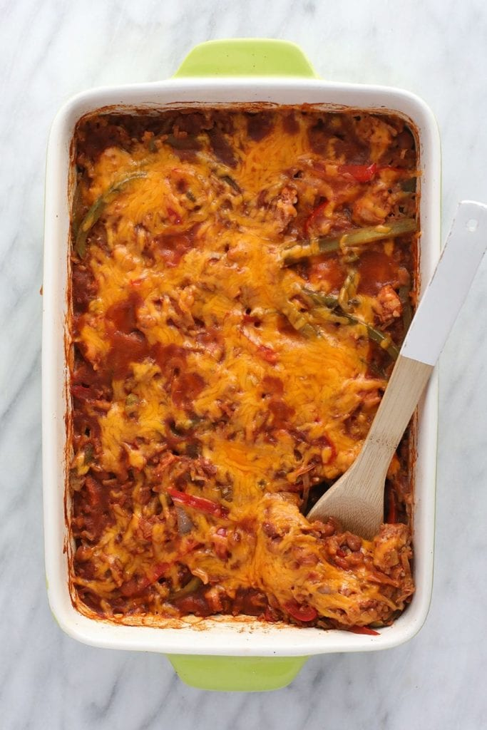 chicken burrito bowl casserole in bowl