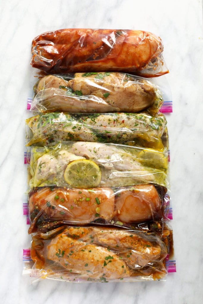 chicken and marinades in plastic bags