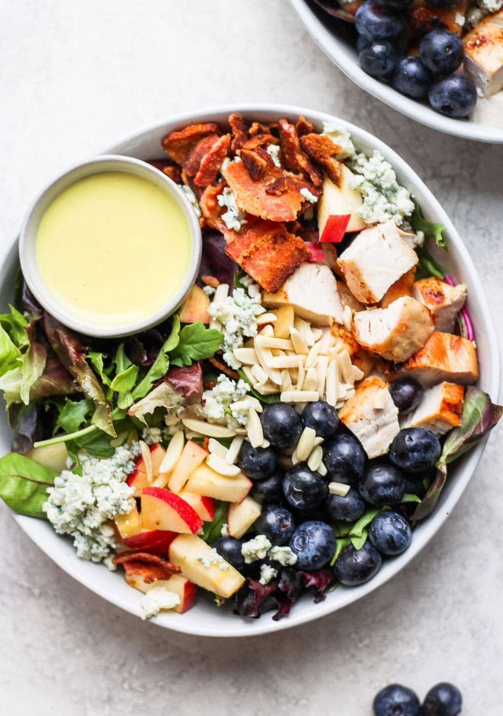 salad in bowl with dressing
