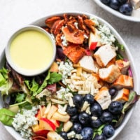 Salad dressing in a salad bowl