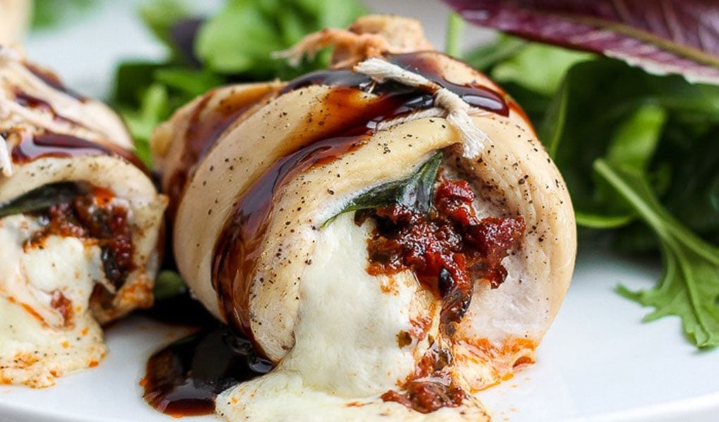 Stuffed chicken on plate