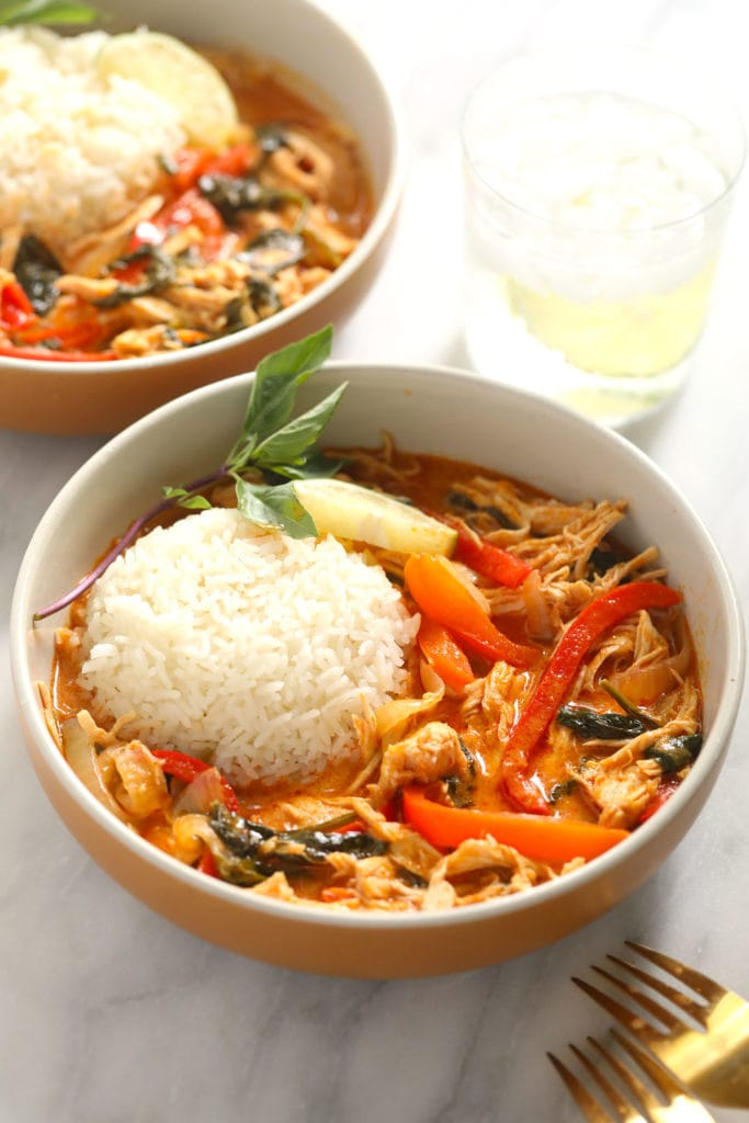 coconut curry in bowl with forks