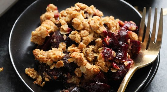 berry crumble on a plate