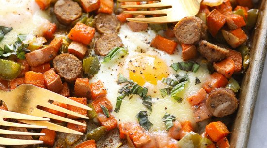 breakfast hash with eggs looking delicious