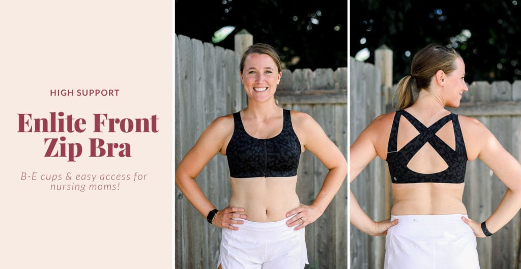 enlite front zip lululemon sports bra that is great for nursing moms
