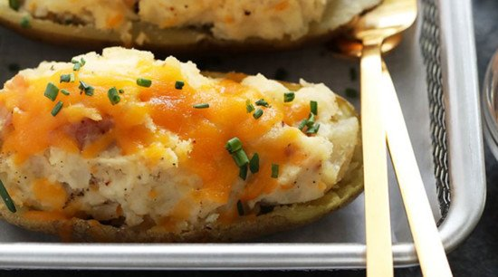 twice baked potatoes topped with cheese