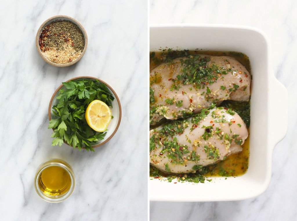 Italian chicken marinade ingredients and chicken breasts in dish