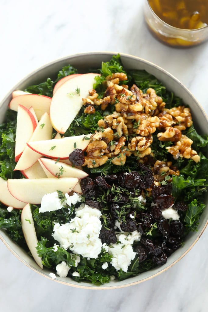 Thanksgiving salad in bowl with apples