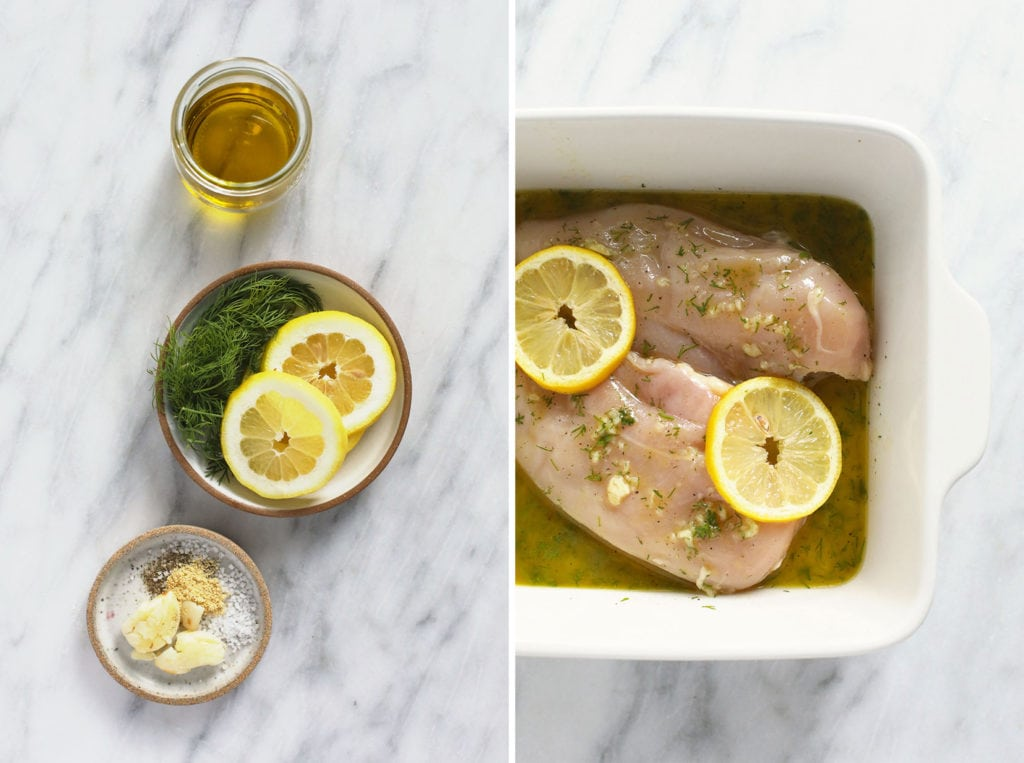 lemon chicken marinade ingredients and chicken breasts in dish