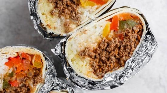 healthy freezer burrito looking delicious