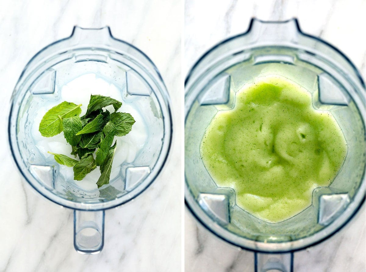 frozen mojito ingredients in blender, before and after being blended