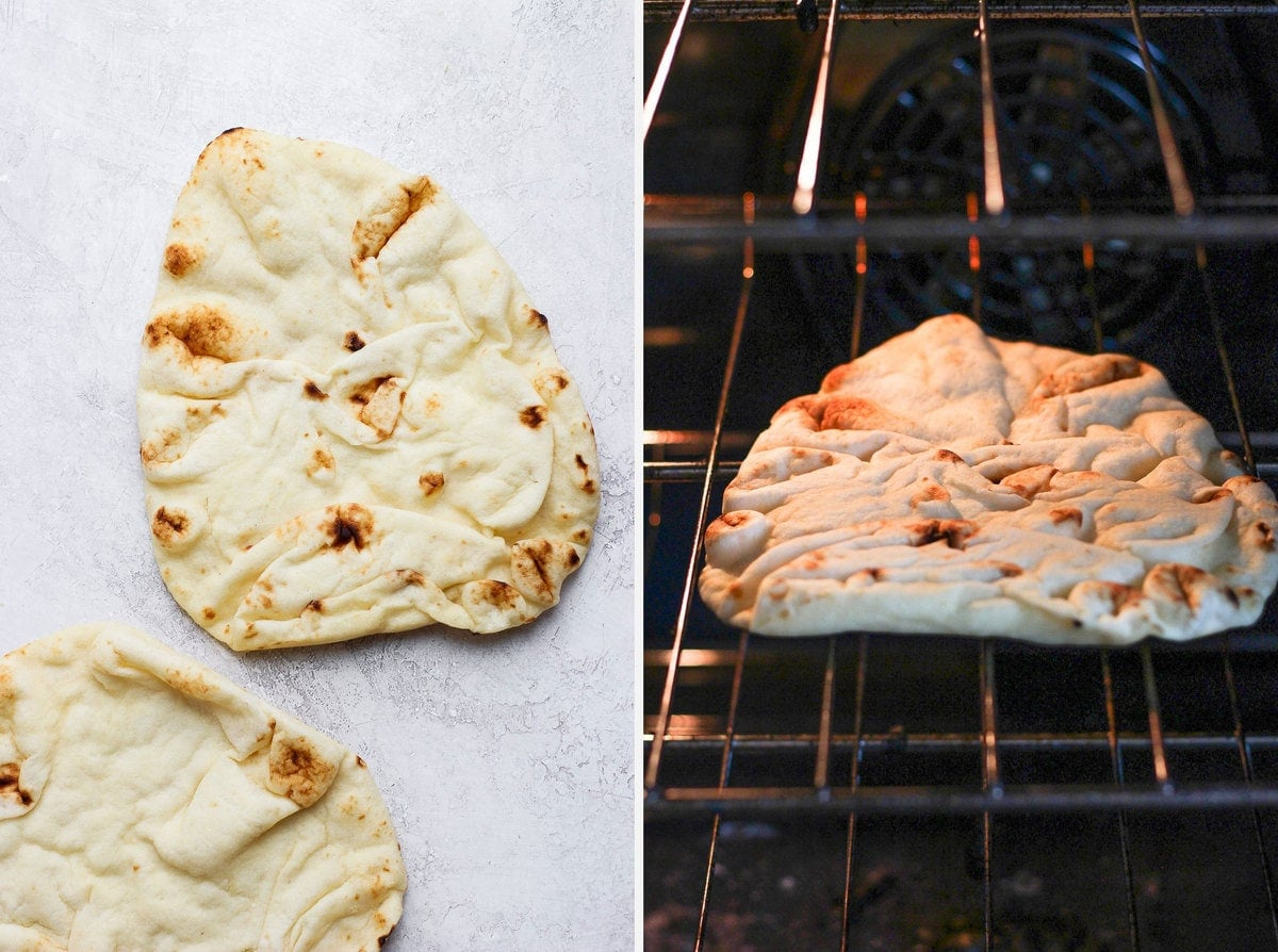 Naan being browned in the oven.