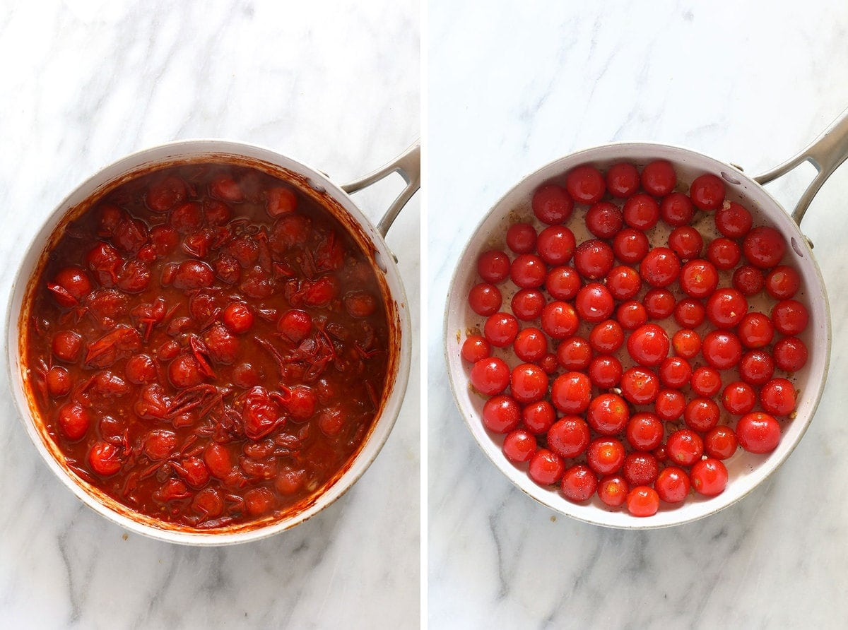 Breaking down tomatoes for the tomato sauce.