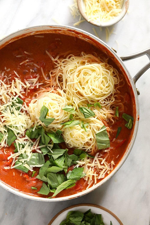 Summer pasta recipe with fresh parmesan and basil.