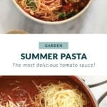Summer pasta recipe in a bowl