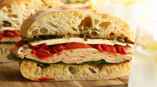Turkey sandwich on a plate
