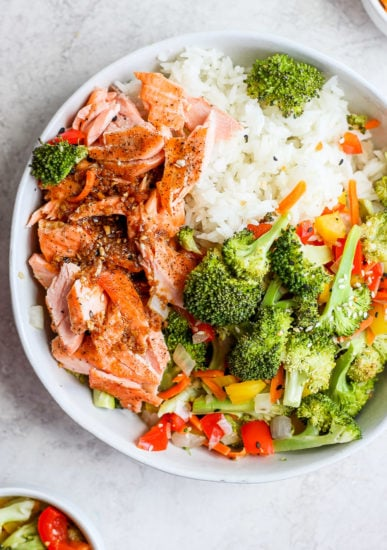 sheet pan salmon stir fry in a bowl ready to be served