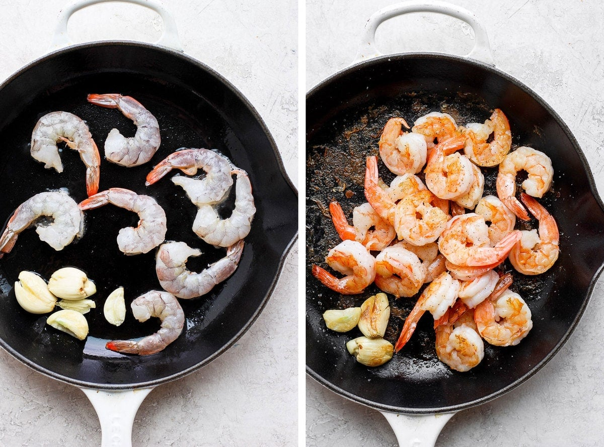 fresh shrimp being sautéed in a cast iron skillet