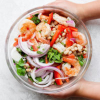 healthy shrimp salad in a bowl
